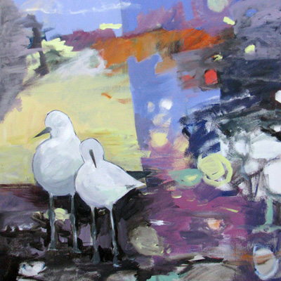 abstract painting titled Two Shore Birds